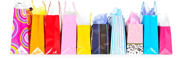 Row of shopping bags